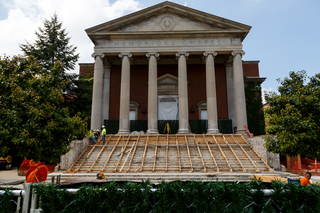 The framework for the new Hendricks Chapel steps have been completed as of July 18. Photo taken July 18, 2017